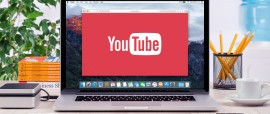 Varna Bulgaria - May 31 2015: YouTube logo on the front view Apple MacBook Pro screen. YouTube presentation concept. YouTube is a video-sharing site allows users to upload view and share videos.