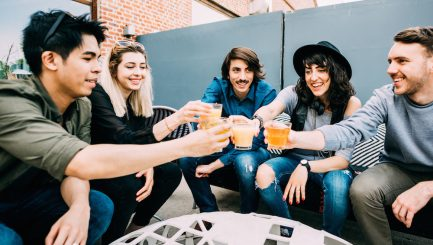 Group of young multiethnic friends sitting in a bar toasting, talking to each other, having fun - happy hour, friendship, relax concept